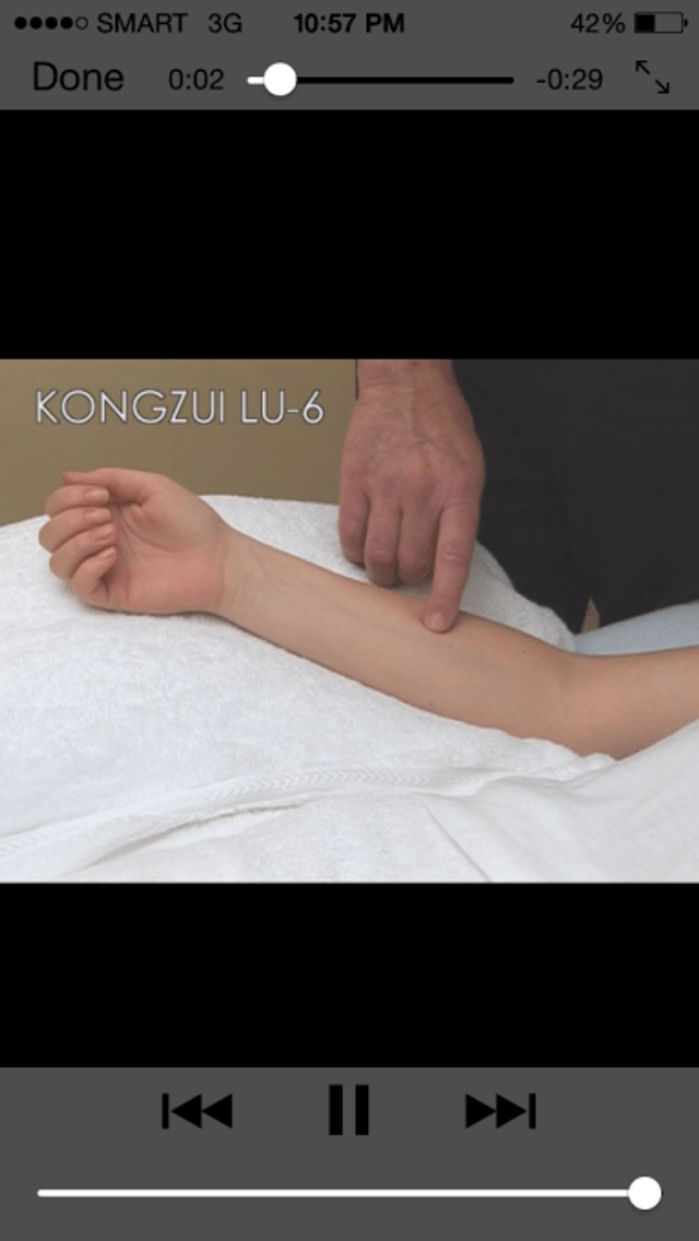 Screenshot of Video showing location strategies from Manual of Acupuncture iOS app