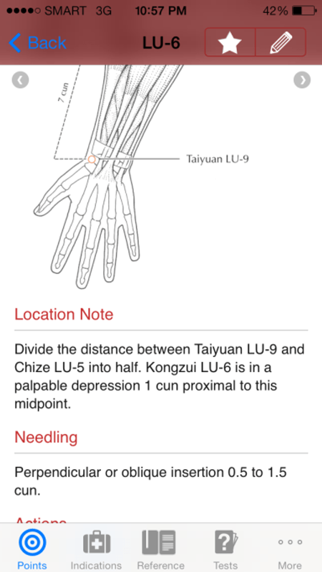 Entry for Lu 6 Kongzui in Manual of Acupuncture iOS app