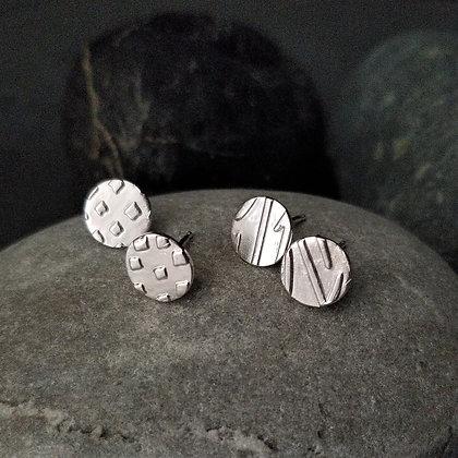 Round Stud Earrings - Geometric