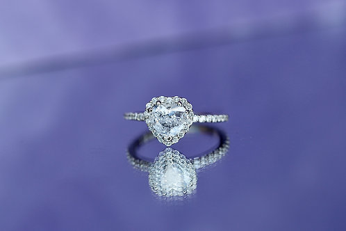 HEART SHAPED DIAMOND ENGAGEMENT RING WITH HALO