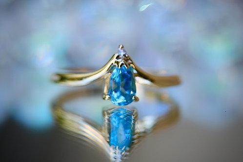 PEAR CUT BLUE TOPAZ COCKTAIL RING