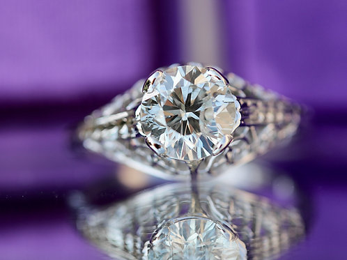 VINTAGE DOMED FILIGREE ROUND DIAMOND SOLITAIRE ENGAGEMENT RING
