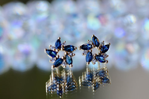 FLORAL SAPPHIRE AND DIAMOND EARRINGS