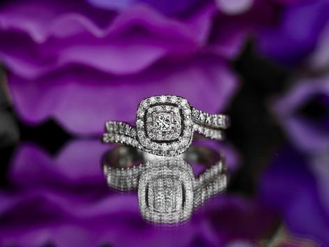 princess cut, halo, engagement ring, wedding set, virginia beach jewlery store, hilltop pawn