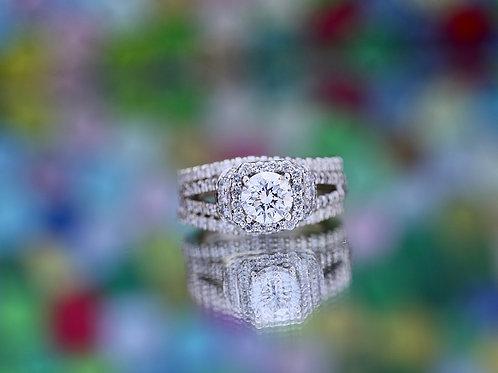 ROUND DIAMOND HALO DOUBLE BAND WEDDING SET