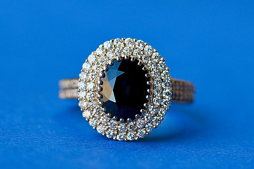 SAPPHIRE AND DIAMOND DOUBLE HALO COCKTAIL RING