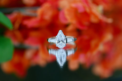 PEAR SHAPED BRILLIANT CUT DIAMOND ENGAGEMENT RING