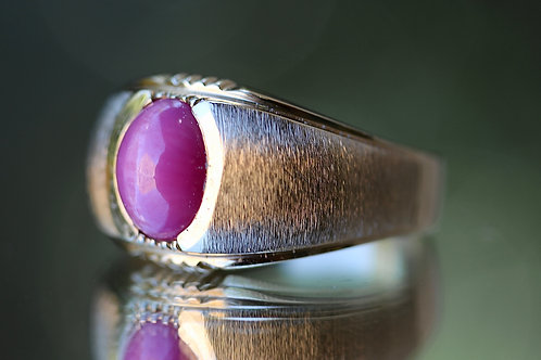 MENS PINK STAR SAPPHIRE RING