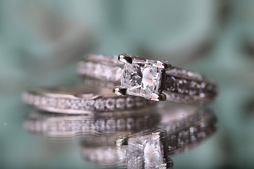 PRINCESS CUT WEDDING SET WITH ROUND ACCENTS