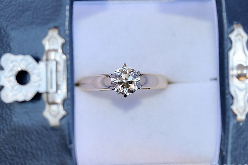 VINTAGE CHAMPAGNE ROUND SOLITAIRE DIAMOND ENGAGEMENT RING