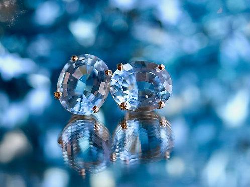 OVAL BLUE TOPAZ STUD EARRINGS