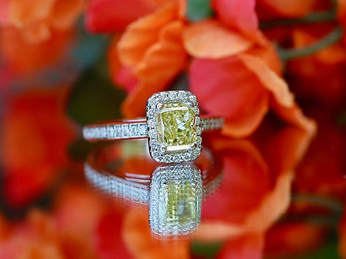 YELLOW RECTANGULAR CUT DIAMOND RING WITH HALO