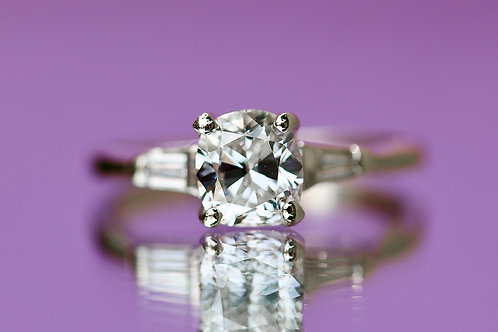 CUSHION CUT DIAMOND SOLITAIRE ENGAGEMENT RING WITH BAGUETTES