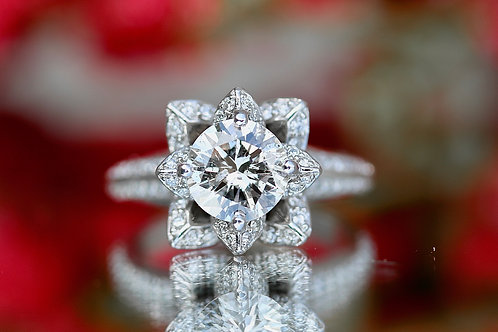 ROUND DIAMOND FLORAL WEDDING SET
