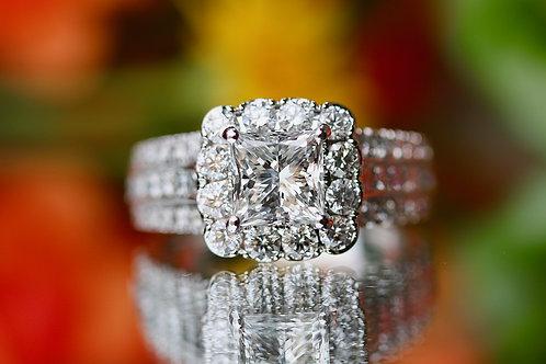 NEIL LANE PRINCESS CUT DIAMOND ENGAGEMENT RING WITH HALO