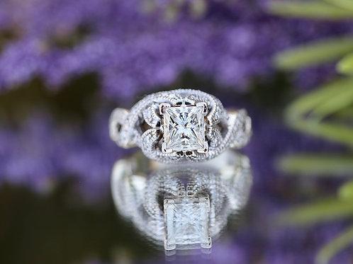 PRINCESS CUT DIAMOND FREE FORM ENGAGEMENT RING