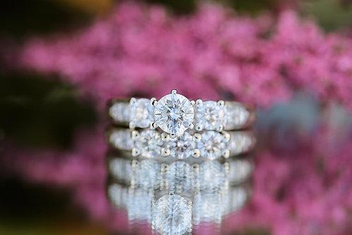 PAST, PRESENT AND FUTURE ROUND DIAMOND WEDDING SET