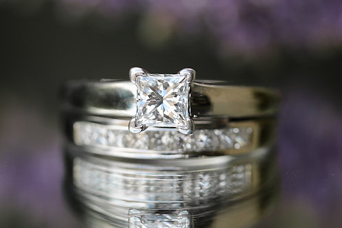 SOLITAIRE PRINCESS CUT WEDDING SET