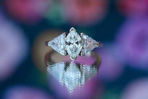 MARQUISE AND TRILLION CUT DIAMOND ENGAGEMENT RING