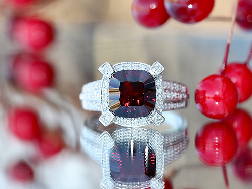 GARNET FASHION RING WITH DIAMOND ACCENT