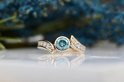 IRRADIATED BLUE DIAMOND RING