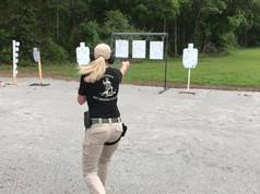Virginia Beach VA Gun Shop, Chesapeake Virginia Gun Shop, Glenda Craddock Shooting on Range, Girl shooting in Chesapeake Virginia