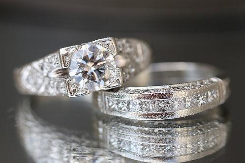 ROUND DIAMOND ANTIQUE REPRODUCTION WEDDING SET