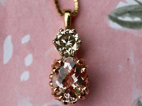 MORGANITE AND DIAMOND NECKLACE