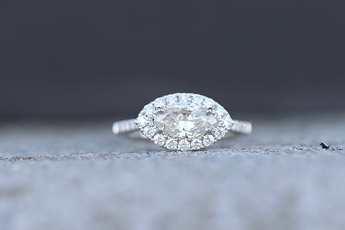 HORIZONTAL MARQUISE CUT ENGAGEMENT RING WITH HALO