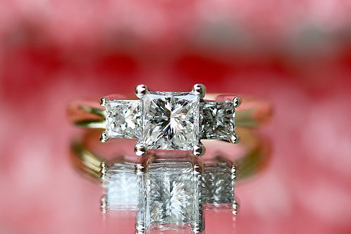 PAST, PRESENT & FUTURE PRINCESS CUT ENGAGEMENT RING