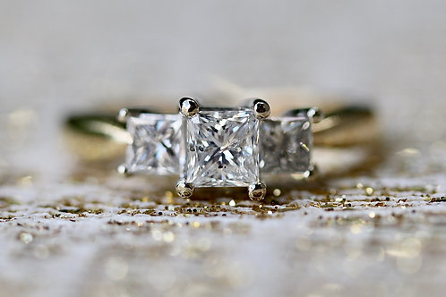 PAST, PRESENT AND FUTURE PRINCESS CUT ENGAGEMENT RING