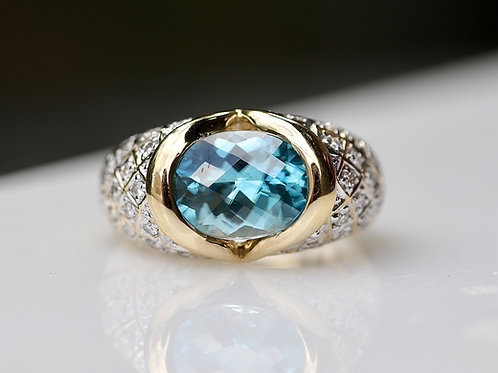 BLUE ZIRCON AND DIAMOND COCKTAIL RING
