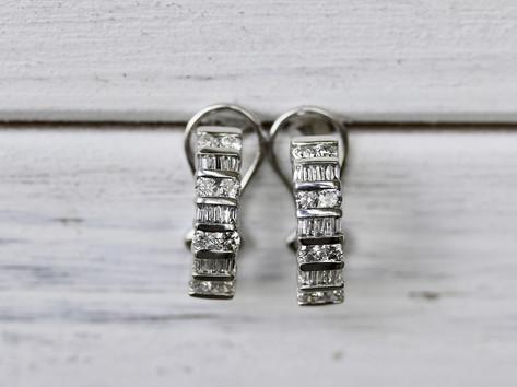 half hoops, diamond earrings, white gold, virginia beach jewelry store, hilltop pawn
