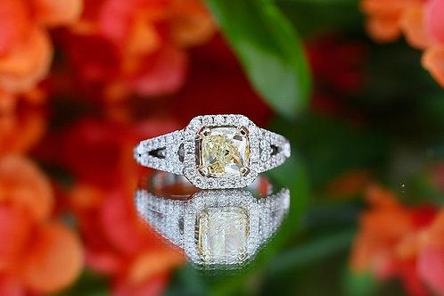 CUSHION CUT YELLOW DIAMOND RING WITH HALO