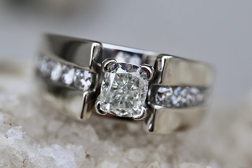 CUSHION CUT AND ROUND DIAMOND ENGAGEMENT RING