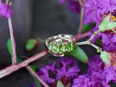 Three Stone Peridot Ring