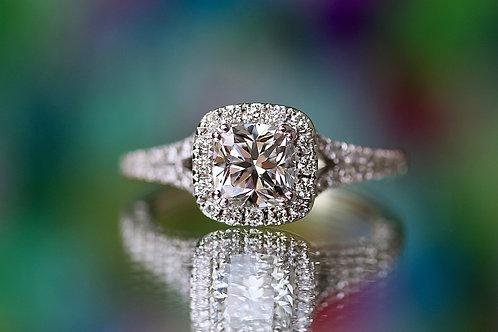 CUSHION CUT DIAMOND ENGAGEMENT RING WITH HALO