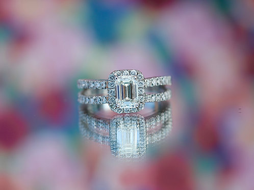 EMERALD CUT DOUBLE BAND ENGAGEMENT RING