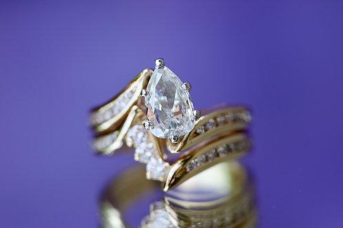 PEAR SHAPED DIAMOND WRAP WEDDING SET
