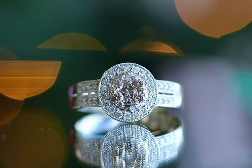 CHAMPAGNE CLUSTER AND WHITE DIAMOND COCKTAIL RING