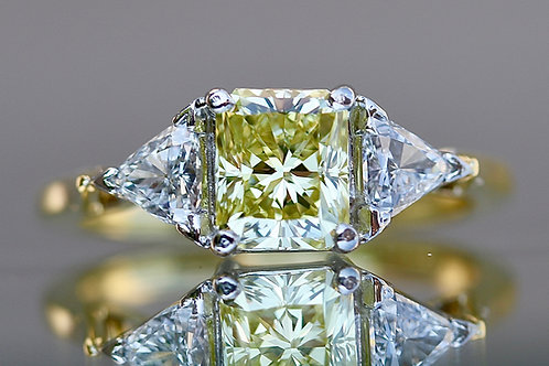 RADIANT CUT NATURAL YELLOW DIAMOND RING