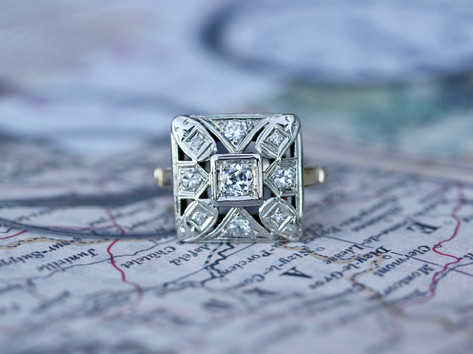 antique ring, diamonds, white gold, yellow gold, virginia beach jewelry store, hilltop pawn