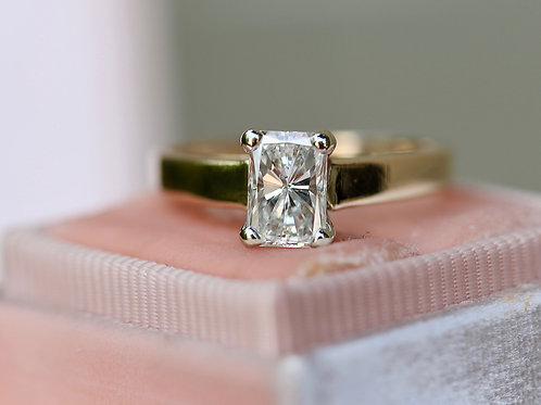 RECTANGULAR DIAMOND SOLITAIRE ENGAGEMENT RING