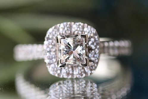 NEIL LANE PRINCESS CUT ENGAGEMENT RING WITH HALO