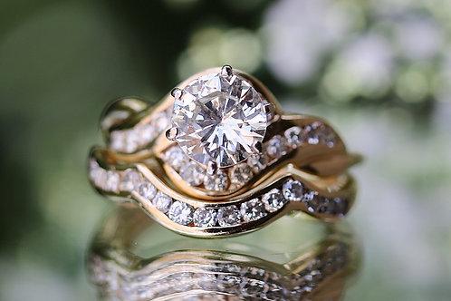 ROUND DIAMOND BYPASS BAND WEDDING SET