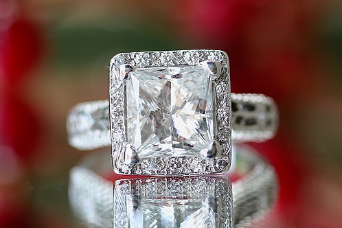 3 CARAT PRINCESS CUT ENGAGEMENT RING WITH HALO