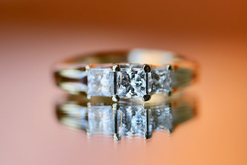 PAST, PRESENT AND FUTURE PRINCESS CUT DIAMOND ENGAGEMENT RING