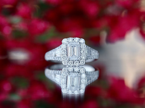 NEIL LANE EMERALD CUT ENGAGEMENT RING WITH ROUND DIAMOND AND SCROLL ACCENTS