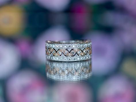 white gold, rose gold, diamonds, fashion band, virginia beach jewelry store, hilltop pawn
