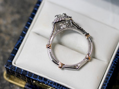 Side view of double diamond halo ring